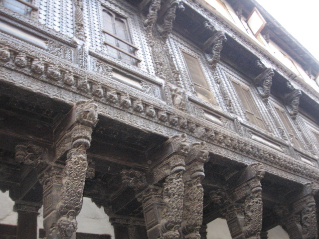 Architecture on the buildings in a pol in Ahmedabad.
