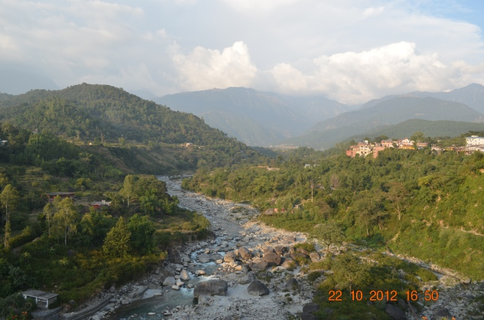 A view of the Binwa, tributary of Beas, with Paprola on one side and Baijnath on the other.