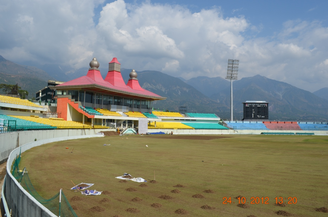 The international cricket stadium, Dharmashaala.