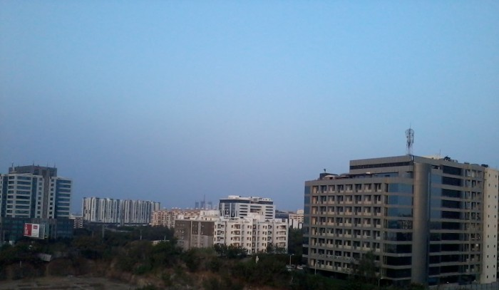 The evening skyline of Hitech city in Hyderabad, as seen from my terrace.