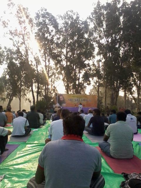 Sri Sri Yoga camp at Botanical Gardens, Hyderabad.