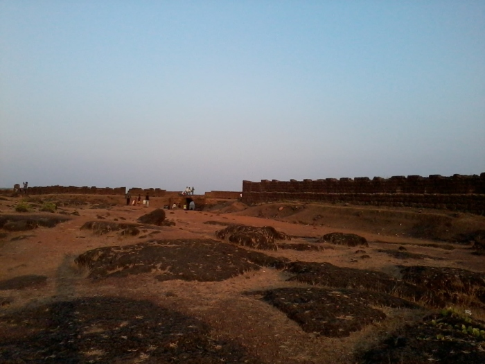 A view of broken-down walls of Chapora fort.