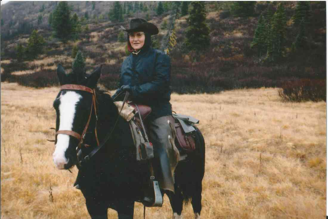 Doreen on horseback.