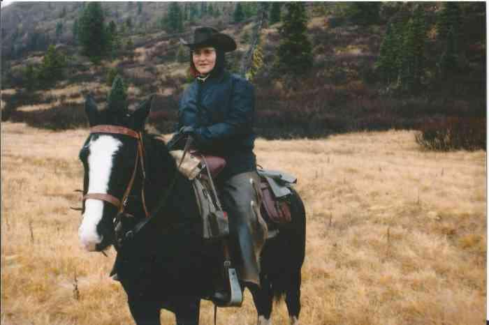 Doreen on horseback.