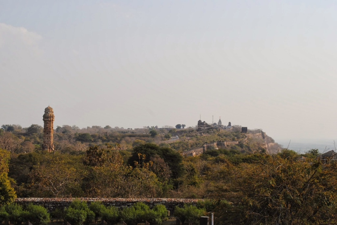 All major buildings of Chittorgarh seen from the palace - Vijay Stambh, Rani Padmini's palace and Mirabai's temple.
