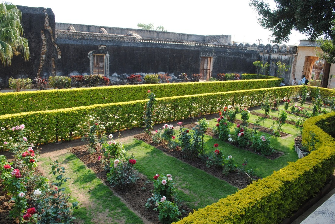 Well maintained flower gardens inside Padmini palace.