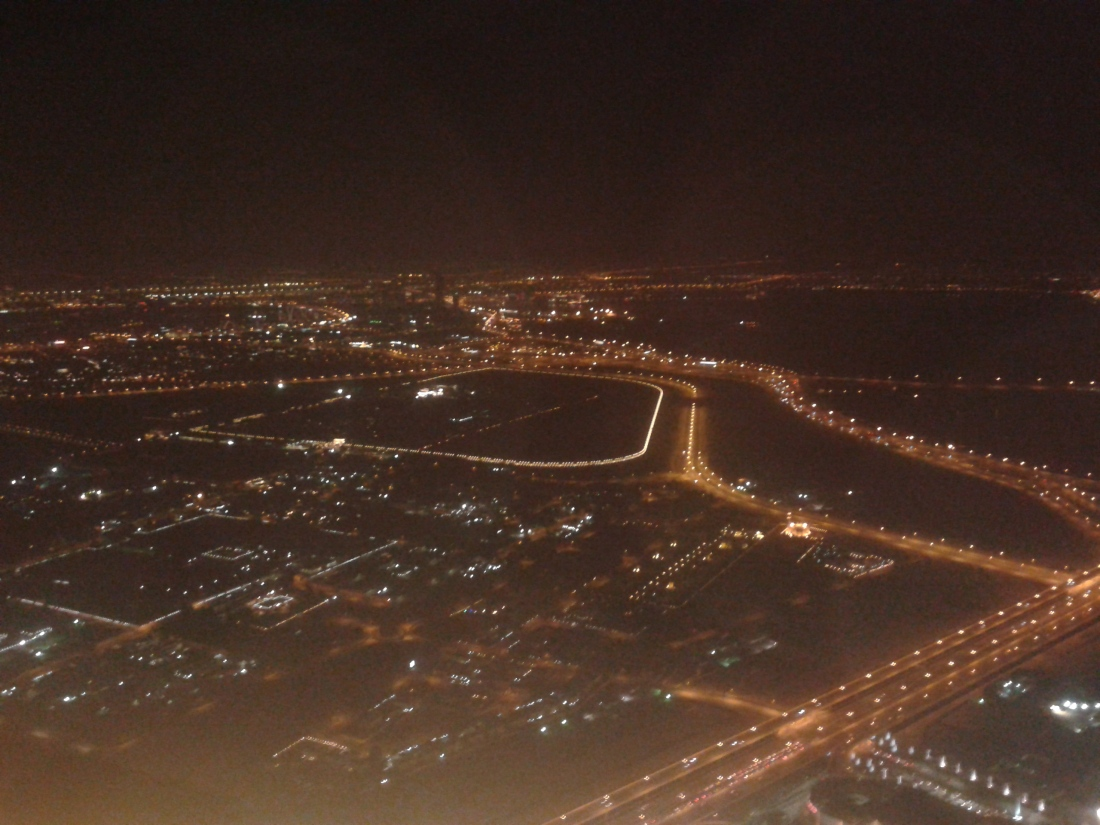From the top of Burj Khalifa. Not very clear, but the best I could manage.