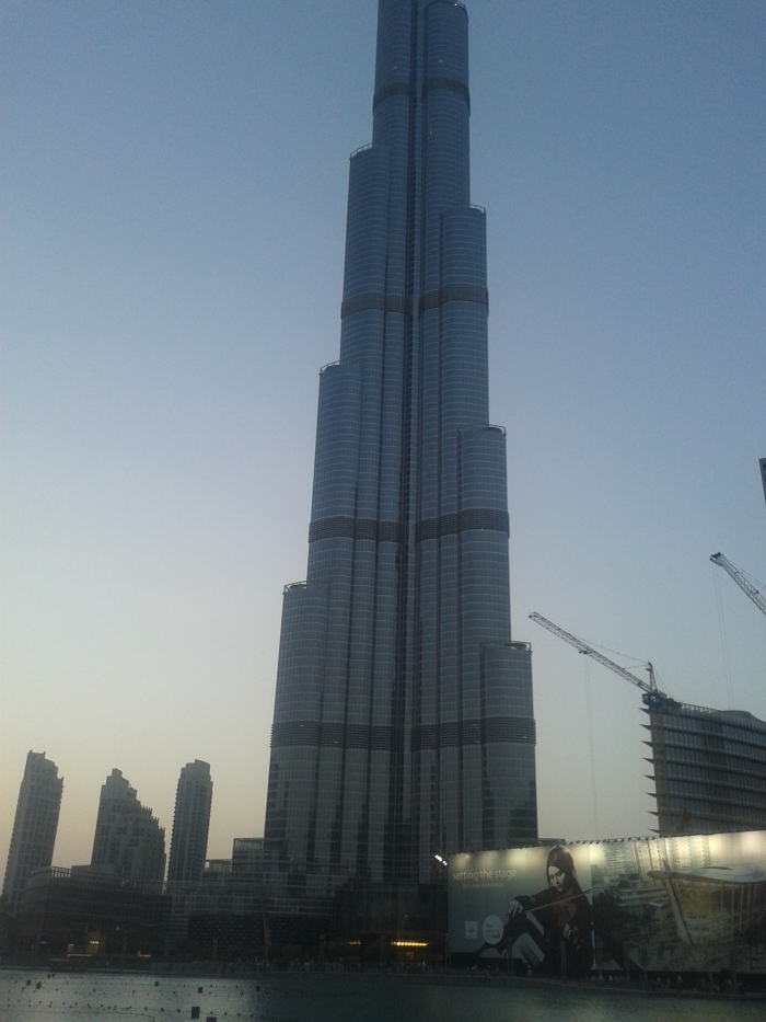 The Burj Khalifa. Too tall to capture from my cellphone camera. :)