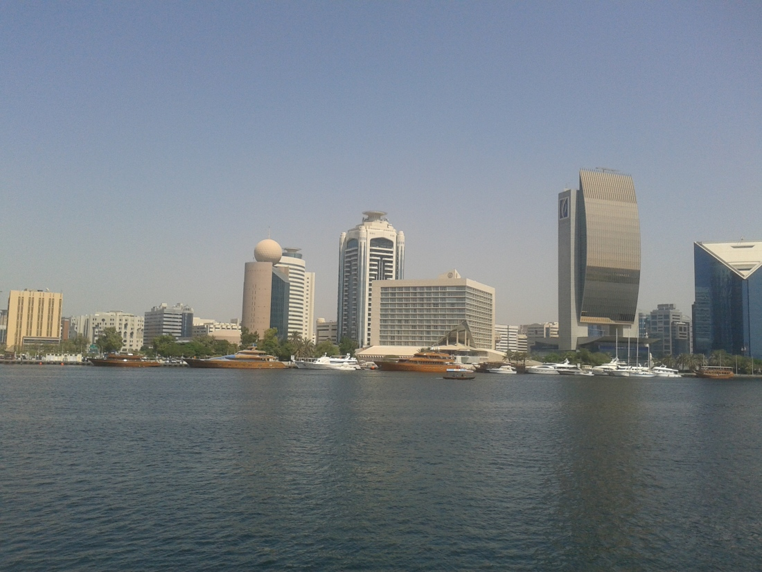 Deira skyline as seen from a boat on Dubai creek.