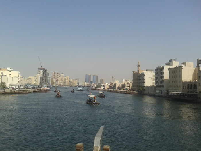 Dubai creek. On the left is Deira and on the right is Dubai.
