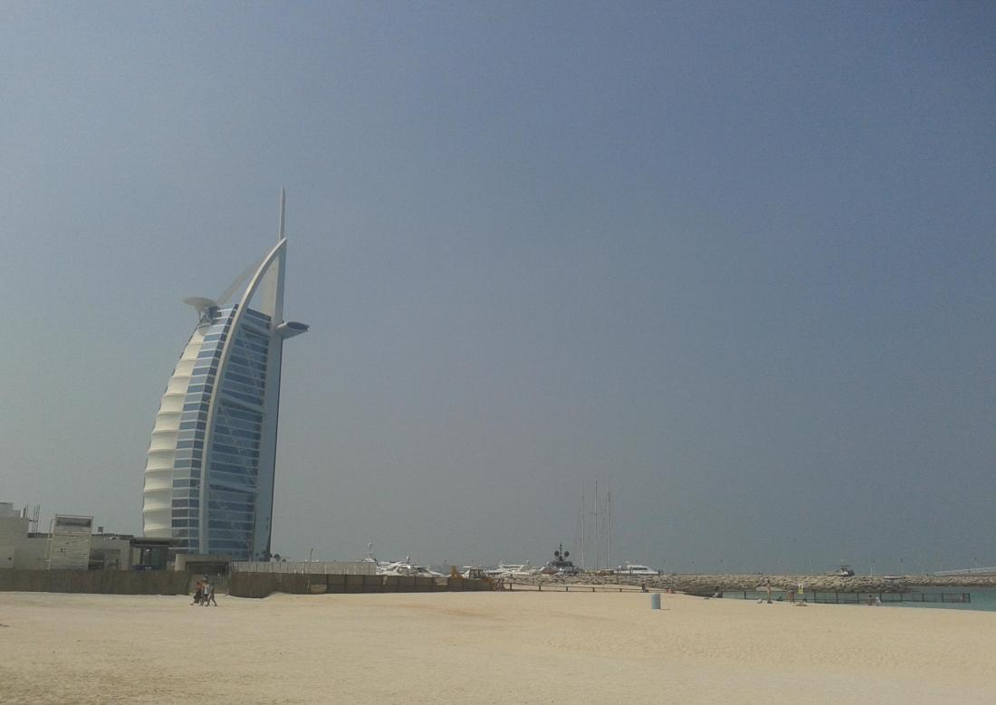 Jumeirah beach with Burj Al Arab in the background.