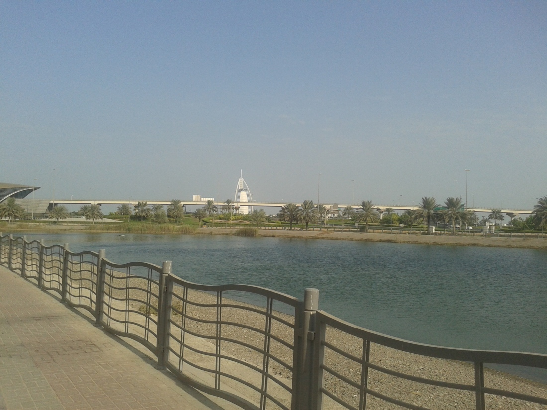 Park near Mall of Emirates. Burj Al Arab seen behind.