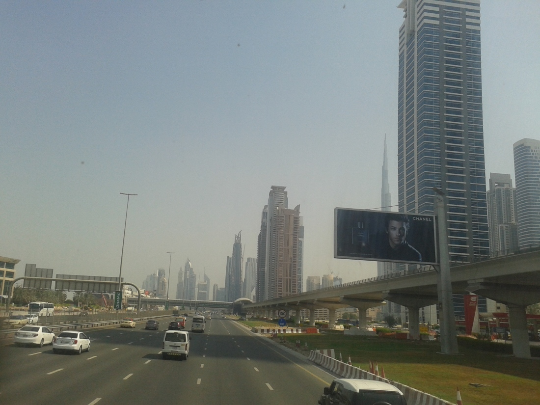 On Sheikh Zayed road, heading towards Wafi mall.