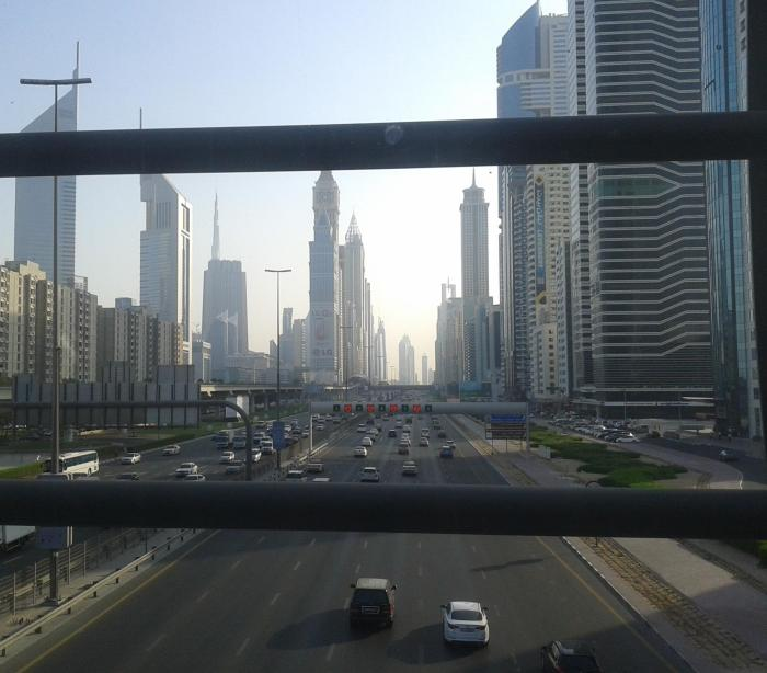 Sheikh Zayed road as seen from an A/C walkway, Dubai.
