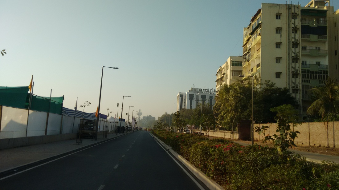 Major roads were blocked for traffic. The famed Patang hotel on the horizon.