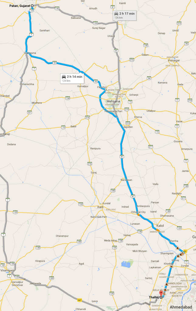 The route we took, courtesy Google Maps.