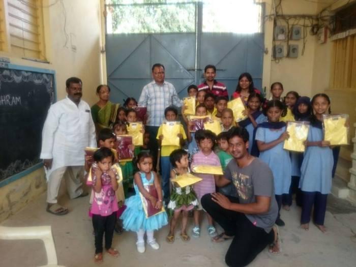 Uniforms given at Kasturba Girls High School, Babu Seva Ashram, Doodbowli, July 2015.
