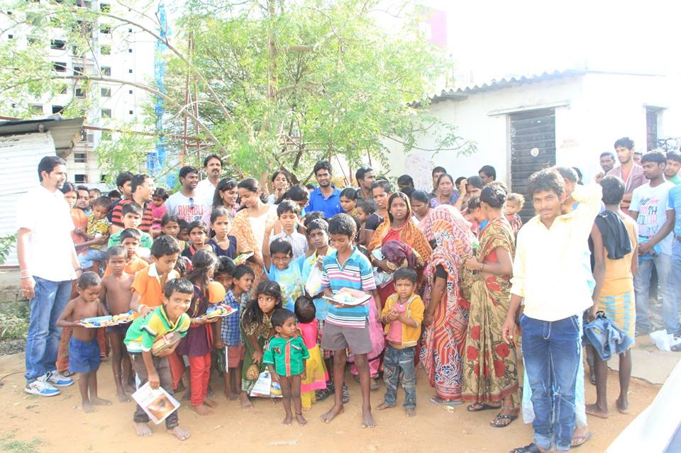 Donated food and books in slum area, Madhapur, 15 Aug 2015 (Independence day).